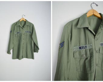 vintage 1978 olive drab green OG-507 Utility Shirt USAF Neely--  mens large