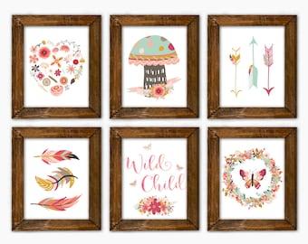 Tribal Nursery Prints. Boho Decor. Girl Bedroom Art. Southwestern Nursery. Floral Arrows Feathers Nursery Decor. Dark Pink Coral Mint Gold