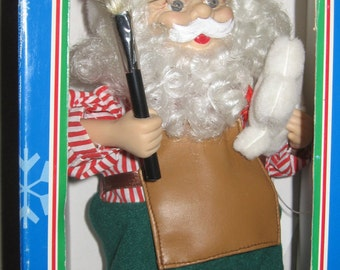 Animated Christmas Santa Figure Vintage Battery Operated Tested & Working in Original Box Great Gift Collectible Fun