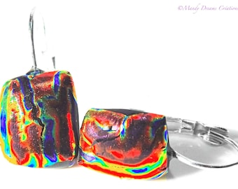 Multicolor dichroic glass sleepers on silver, luminous, handmade, single piece