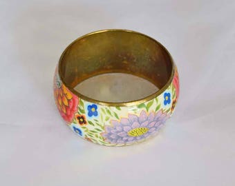 Vintage 1.5 inch Wide Cuff Bangle Boho Bracelet with Floral Design and Hand Painted Gold Trim
