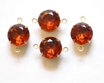 Vintage Madeira Topaz Faceted Glass Stones 2 Loop Brass Settings 12mm rnd004BB2