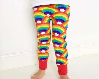 Organic Rainbow Leggings, Boys Girls Gender Neutral Apparel, Holiday Photo Shoot, Pyjama Pants, Christmas Leggings