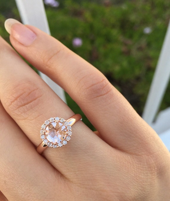 Morganite And Rose Gold Ring Etsy