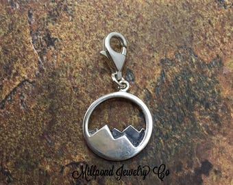 Mountain Range Charm, Mountain Charm, Nature Charm, Outdoors Charm, Sterling Silver Charm, Sterling Silver Pendant, PS01334LC