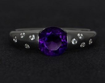 amethyst ring genuine purple gemstone rings engagement ring round cut amethyst February birthstone ring