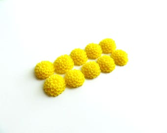 lot 10 10mm yellow dahlia flower cabochons