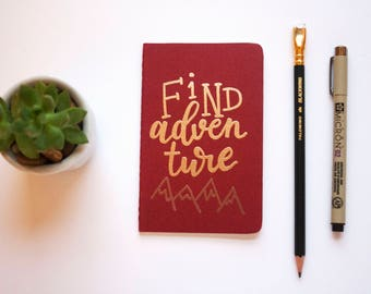 Custom Embossed Moleskine Pocket Notebook, Personalized Journal, Cahier, Sketchbook, Notebook, Quote, Find Adventure, Holiday Gift