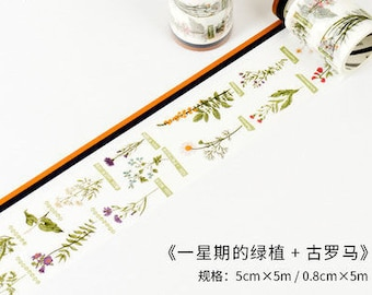 Week of flowers washi tape set
