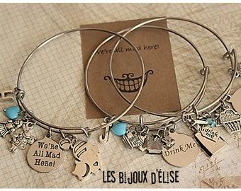 Personalized Alice Wire Bangle Bracelet Alice in Wonderland Charms Bangle Expandable Bracelet - Stainless Steel Bangle