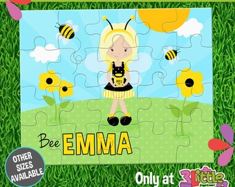 Bee Girl Puzzle - Personalized 8 x 10 Puzzle - Personalized Name Puzzle - Personalized Children Puzzle - Personalized Bee Puzzle