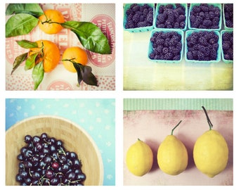 35% off - Colorful Kitchen Wall Art - Retro Style Food Photography - Set of Four Fruit Prints - Dining Room Art - Print Set of 4 Kitchen Set