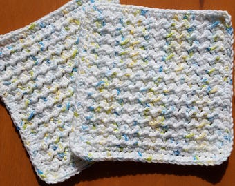 Handmade crochet washcloths, dishcloths, rags or wipes 100% cotton set of 2