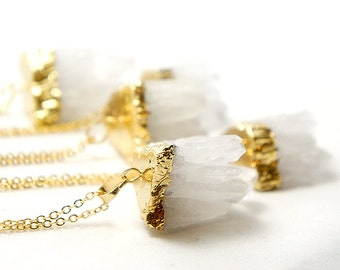 White Quartz Crystal Necklace - White Druzy Quartz Necklace - Best for Layering - Bohemian Style Healing Stone - Gypsy Necklace