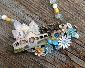 The House on the Hill: an upcycled necklace in blue, yellow, and white - 725