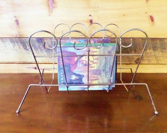 Vintage Brass Magazine Rack - Mid Century Scroll Design - Book and Towel Holder