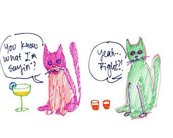 Greeting Card Set - Small Talkin' Cats, Funny Notecards