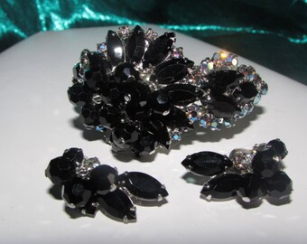 VINTAGE JULIANA Dangle Black Beads Black and Aurora Borealis Rhinstones Clamper Bracelet and Matching, Earrings Set - Timeless!!! D5