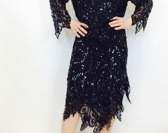 Black beaded dress vintage beaded dress vintage black sparkly dress black sequined dress size medium dress boxy dress sheer black dress M L