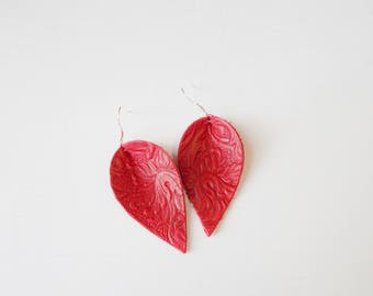 Red Embossed Handcrafted Leather Leaf Earrings With Nickle Free Ear Wires