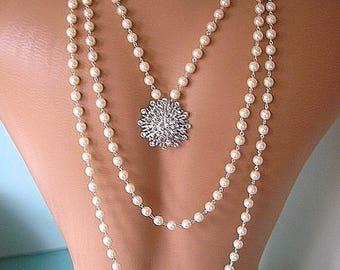 Backdrop Necklace Wedding, Pearl Backdrop, Bridal Jewelry, Bridal Backdrop Necklace, Pearl Necklace, Rhinestone And Pearl Jewelry, Wedding