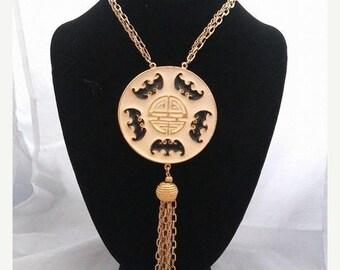 ON SALE Vintage Art Deco Designed Statement  Bib Fringe Runway Asian Oriental Style Necklace, 1970's Collectible Tassel Jewelry