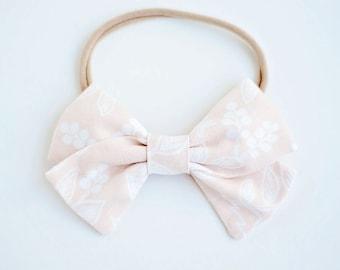 Hair Bow, Bow Headband, Headband, Headbands, Fabric Hair Bow, Baby Bow, Bow,  Alligator Clip, Rifle Paper Co - Queen Anne In Peach
