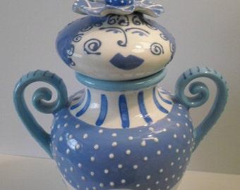 Whimsical BLUE vase Girl vessel