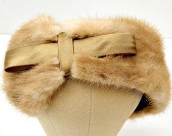 Mink Fascinator Headband...1940s/1950s...Light Brown Mink...Mocha Satin Bow