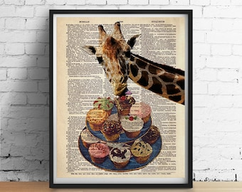 GIRAFFE Loves Cupcakes Cake Animal Art Print Poster Funny Illustration Vintage Antique Dictionary Book Page GIclee