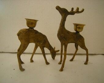 2 candleholders-brass candleho;ders-deer-christmas decor-mantel decor-tablescape-shelf decor-candlestick holders-