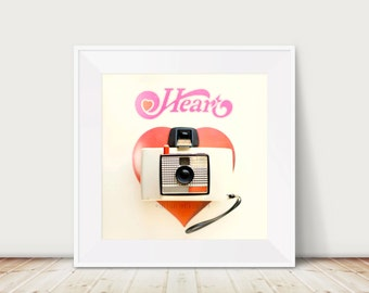 Heart Fine Art Print Valentines Day Love Red Camera Pink Valentine February Vintage Record LP Home Decor Wholesale