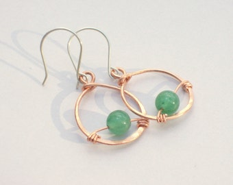 Green Aventurine Earrings - Green Stone - Small Copper Hoop Earrings with Silver Ear Wires -  Hammered Hoops - Green Stone Earrings
