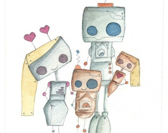 Custom Robot Family Portrait (Introductory Price)