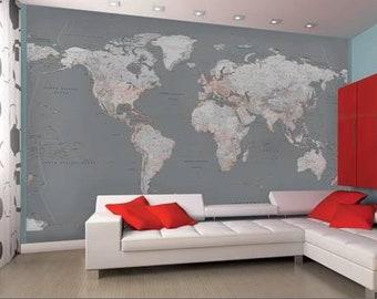 World map wall mural etsy grey wall world map wallpaper mural gumiabroncs Gallery