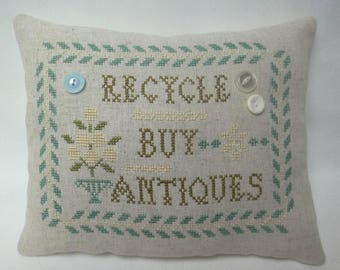 Recycle Buy Antiques Cross Stitch Mini Pillow, Antique Dealer Pillow Gift