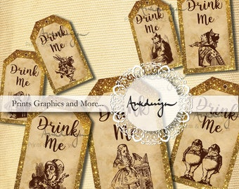 Drink me Golden Tag vertical, Alice in Wonderland Favor Tags,Wedding tag Digital Collage Sheet Alice in Wonderland Decoration Printable Tags