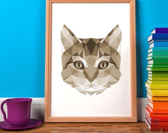 Cat Print, Geometric Print, Sepia Print, Triangle Print, Sepia Cat, Home Wall Decor, Cat Wall Art, Polygonal Animal, Girls Print
