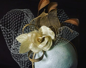 Gold & Champagne Fascinator / Headpiece with Flower detail. Bespoke fashion