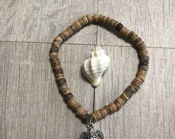 Wooden sea turtle bracelet