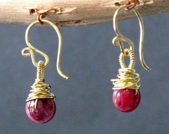 Petite Ruby Gemstone Earrings Victorian 167