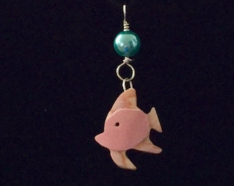Cute hand carved tropical fish necklace