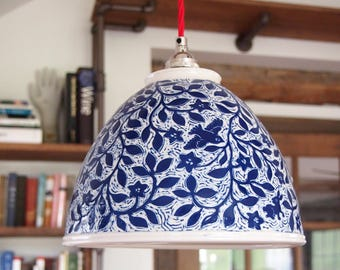 Hanging Pendant Lamp, Handmade in Porcelain and Hand Carved all over with Birds, Flowers an Owl and a Bunny
