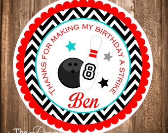 Printable Bowling Gift Tags, Bowling Party,Chevron Bowling Labels, Bowling Thank you Tags,Digital File