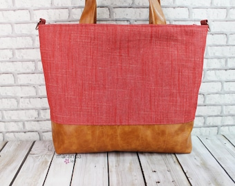 Extra Large Lulu Tote Overnight Diaper Bag - Red Denim and PU Leather -READY to SHIP  Zipper Closure Beach Dance Travel Bag 7 pockets