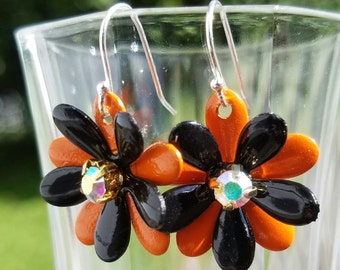 Black and Orange Metal Enamel Flower Earrings AB Rhinestone Earrings Brass and Sterling Silver Earings Flower Halloween Earrings Dangle Drop