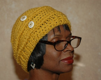 Yellow Crochet Hat with Buttons
