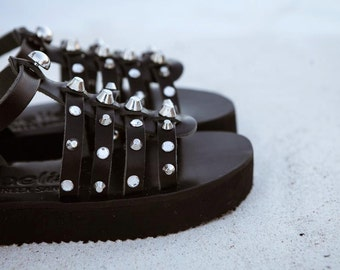 aelia aura gladietor in flatform/strass and silver studs/rock sandals/gothic sandals/handmade leather  black sandals/sales