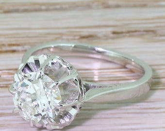 Mid Century 1.50 Carat Old European Cut Diamond Engagement Ring, French, circa 1955