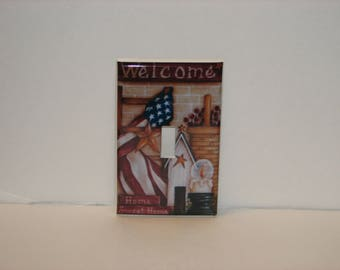 Americana Welcome Flag Birdhouse Basket Berries Single Switch plate Single Toggle